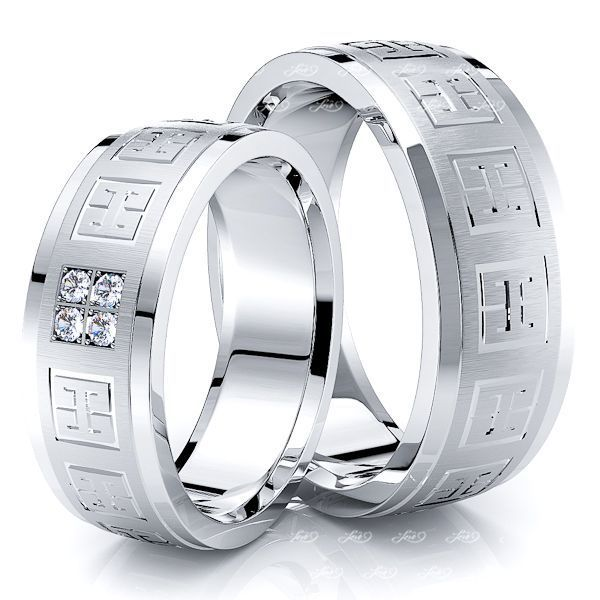 0.12 Carat Hieroglyphic Design 7mm His and Hers Diamond Wedding Band Set