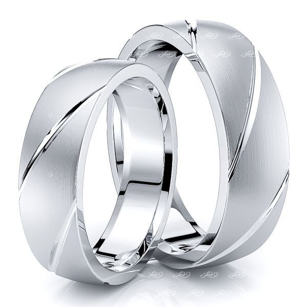 Diagonal Grooved Matching 6mm His and Hers Wedding Ring Set