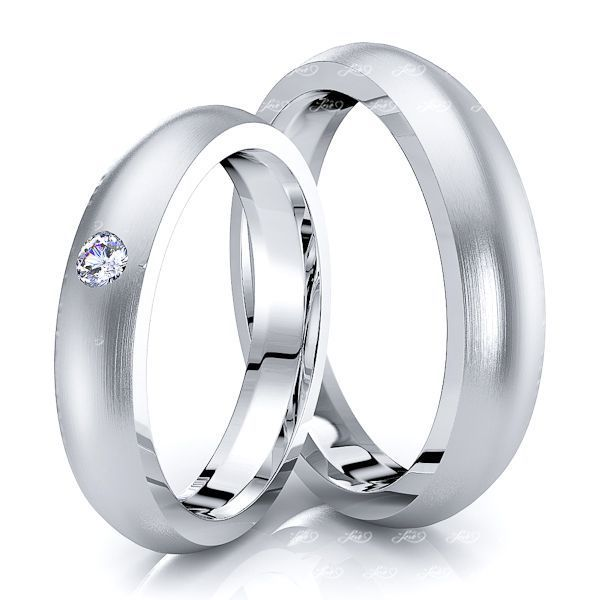 0.05 Carat Elegant Basic 4mm His and Hers Diamond Wedding Ring Set
