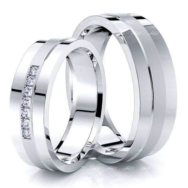 0.10 Carat Attractive 6mm His and Hers Diamond Wedding Band Set
