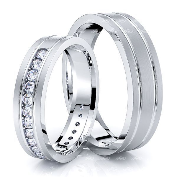 0.42 Carat Trendy Classic 5mm His and Hers Diamond Wedding Band Set