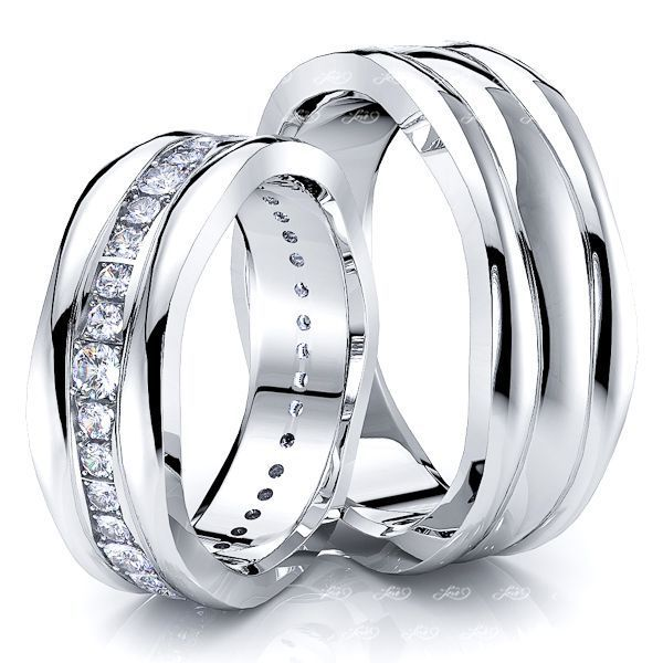 0.70 Carat Fancy Wave Design 7mm His and Hers Diamond Wedding Ring Set