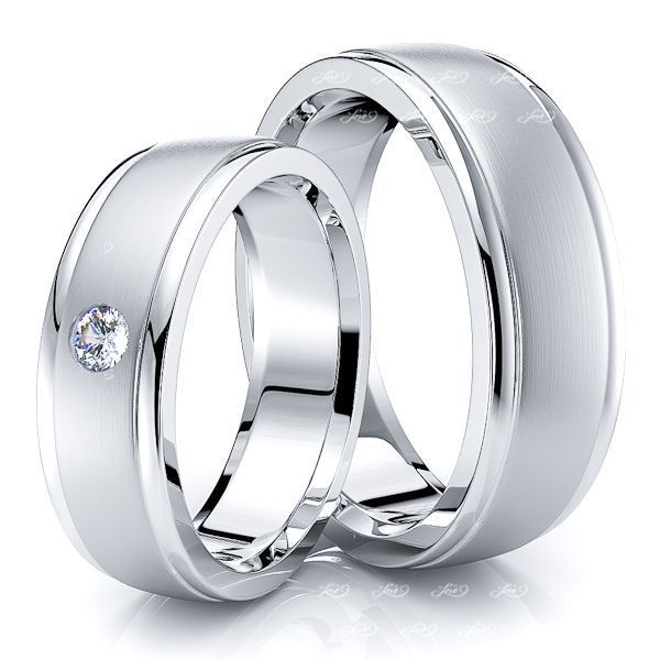0.08 Carat Bestseller Classic 6mm His and Hers Diamond Wedding Band Set