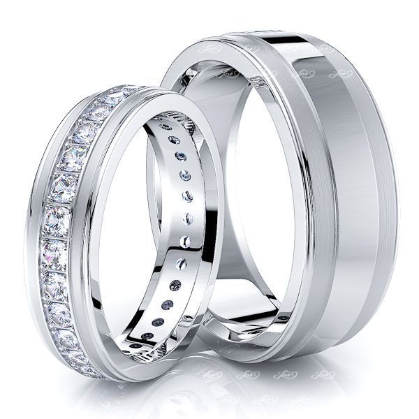 0.99 Carat Bestseller Fancy 7mm His and 5mm Hers Diamond Wedding Ring Set
