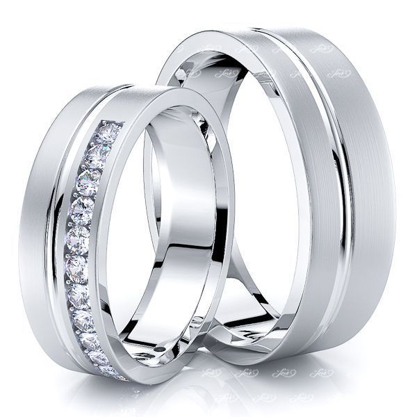0.36 Carat Elegant Carved 6mm His and Hers Diamond Wedding Band Set