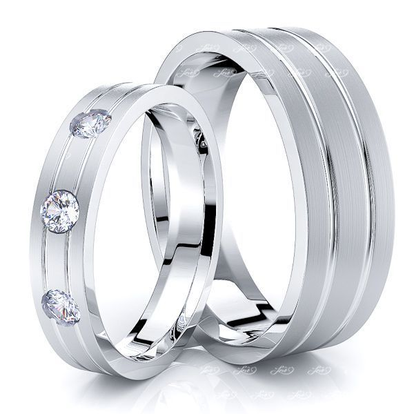 0.15 Carat Flat Modern 6mm His and 4mm Hers Diamond Wedding Ring Set