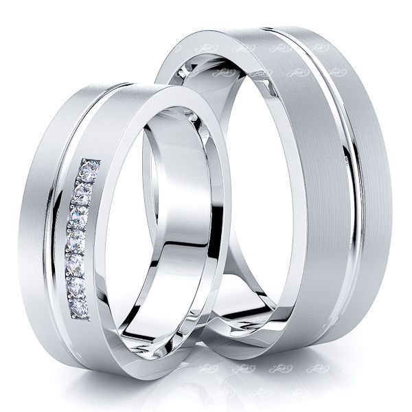 0.10 Carat Elegant Carved 6mm His and Hers Diamond Wedding Band Set