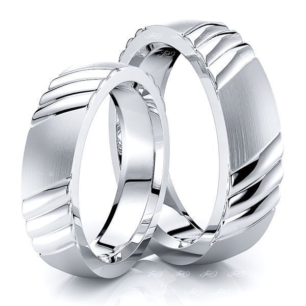 Fancy Diagonal Grooved Matching 5mm His and Hers Wedding Ring Set