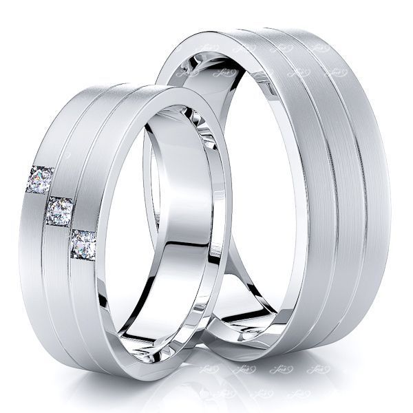 0.06 Carat Traditional Grooved 6mm His and Hers Diamond Wedding Band Set