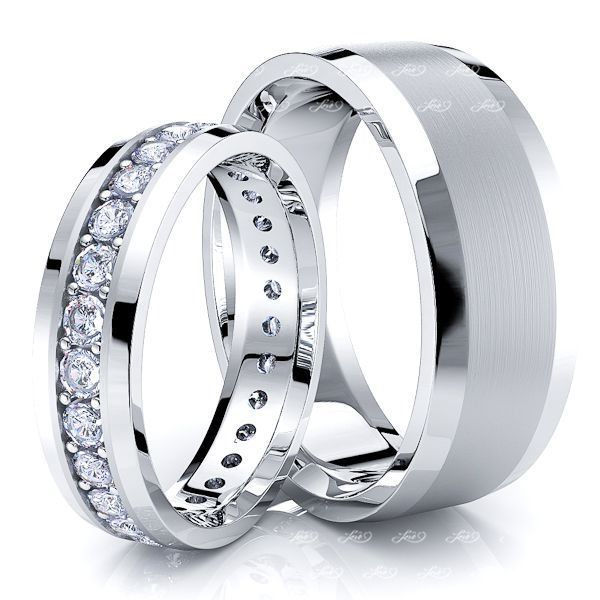 1.00 Carat Stylish 7mm His and 5mm Hers Diamond Wedding Band Set