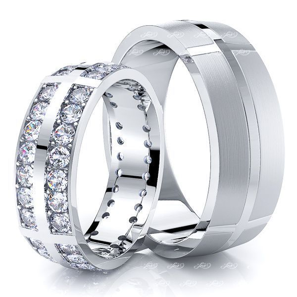 1.12 Carat Designer Fancy 7mm His and Hers Diamond Wedding Ring Set