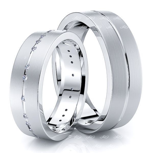 0.18 Carat Designer Simple 6mm His and Hers Diamond Wedding Band Set