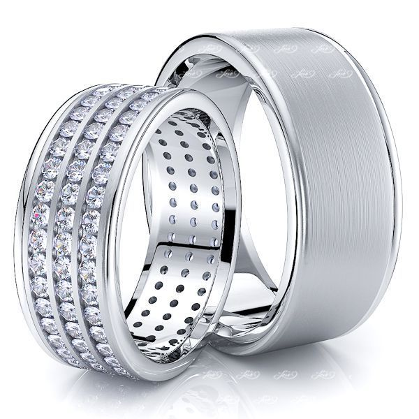 1.80 Carat Trendsetting 8mm His and Hers Diamond Wedding Ring Set