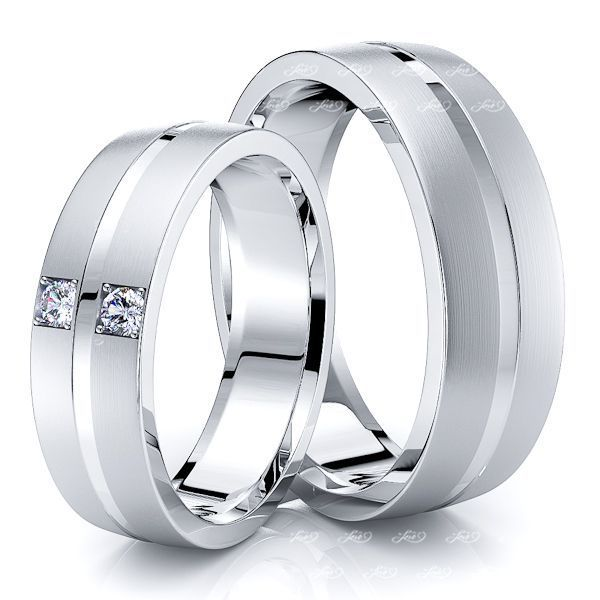 0.06 Carat Elegant Simple 6mm His and Hers Diamond Wedding Band Set