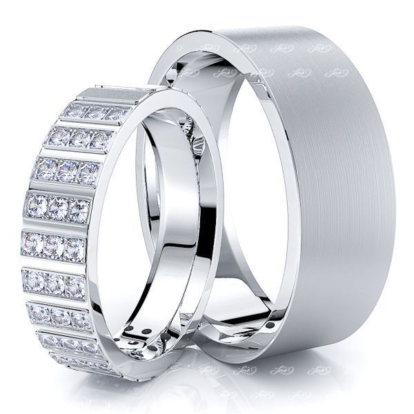 0.58 Carat Fancy Designer 7mm His and 5mm Hers Diamond Wedding Ring Set