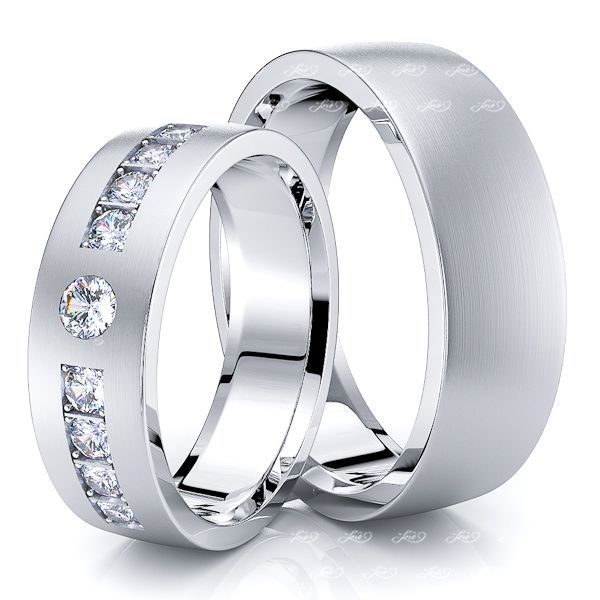 0.40 Carat Timeless Design 6mm His and Hers Diamond Wedding Ring Set