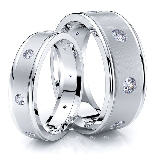 0.64 Carat Fashionable 7mm His and 5mm Hers Diamond Wedding Band Set
