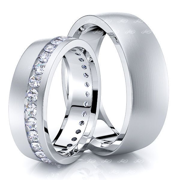 0.90 Carat Bestseller Designer 6mm His and Hers Diamond Wedding Ring Set