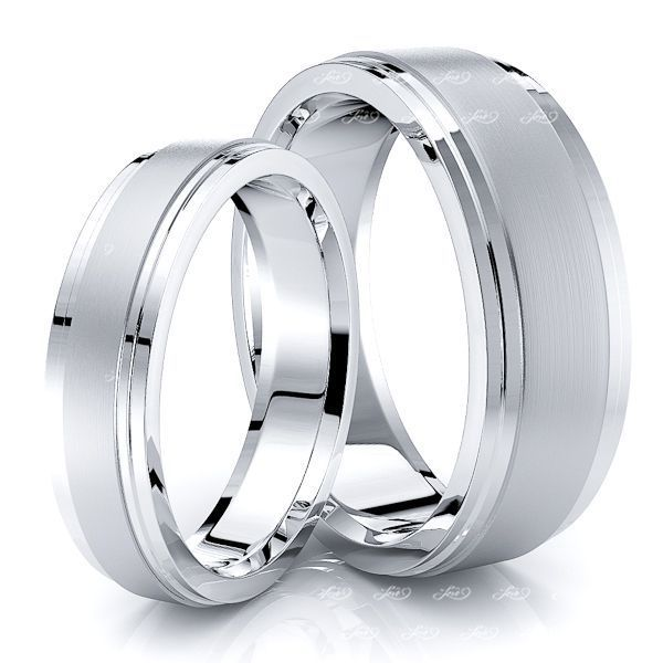 Chic Double Step Edge Matching 7mm His and 5mm Hers Wedding Band Set