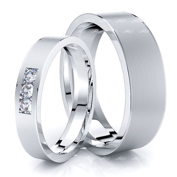 0.09 Carat Simple Elegant 6mm His and 4mm Hers Diamond Wedding Band Set