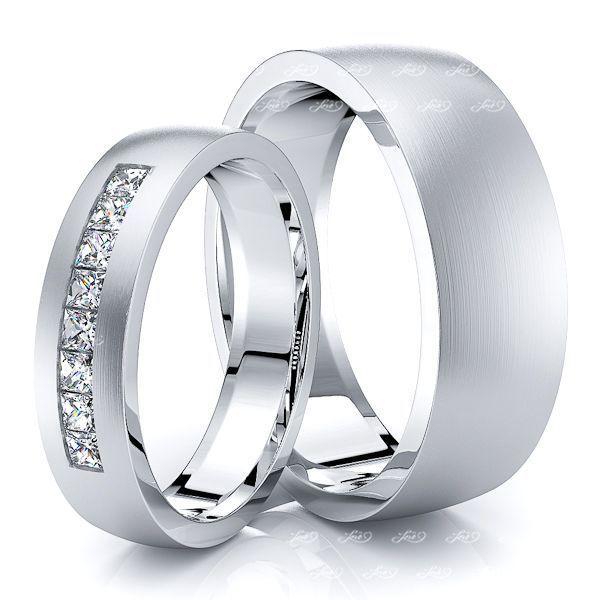 0.48 Carat Princess Cut 7mm His and 5mm Hers Diamond Wedding Band Set