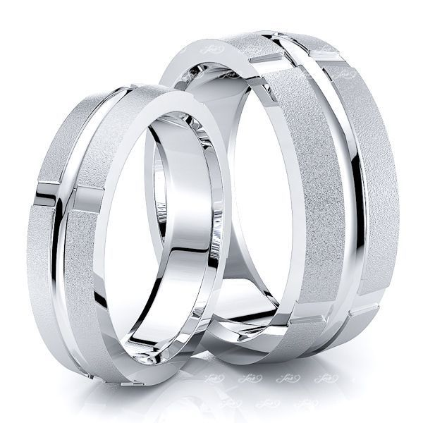 Contemporary Beveled Matching 7mm His and 5mm Hers Wedding Band Set