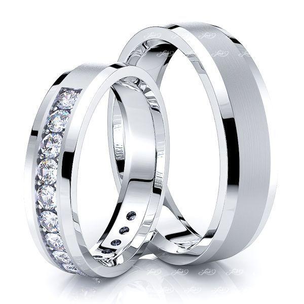 0.60 Carat Stylish 7mm His and 5mm Hers Diamond Wedding Ring Set