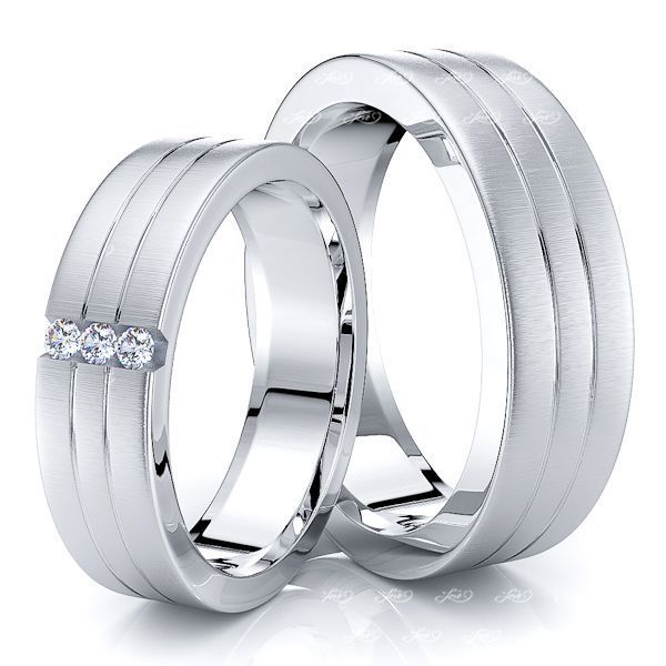 0.06 Carat Chic Classic 6mm His and Hers Diamond Wedding Ring Set