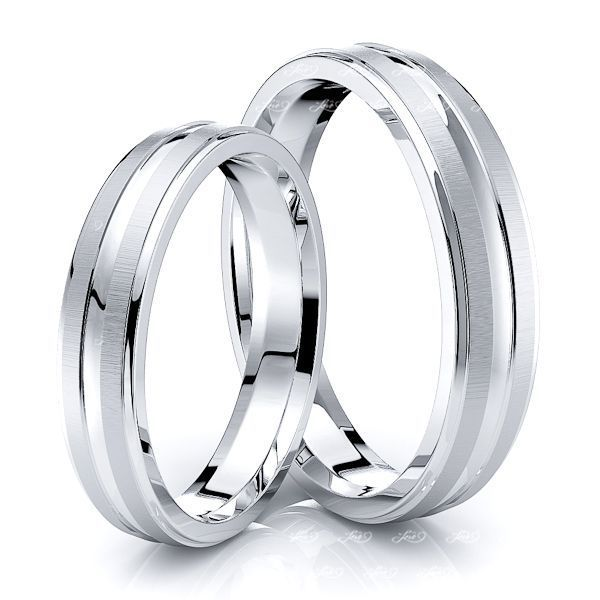 Simple Step Edge Carved Matching 4mm His and Hers Wedding Ring Set