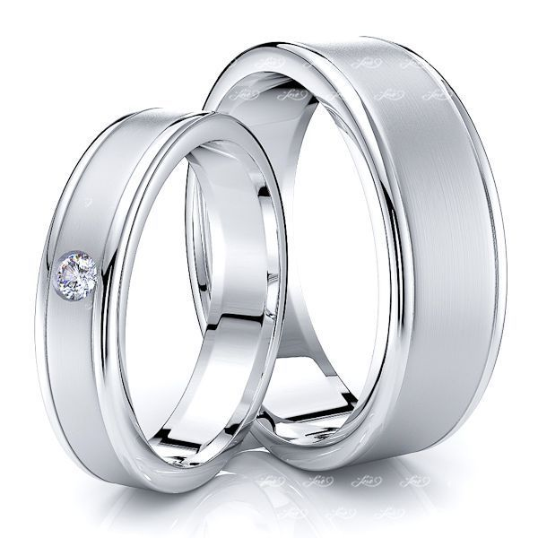 0.05 Carat Attractive 7mm His and 5mm Hers Diamond Wedding Band Set