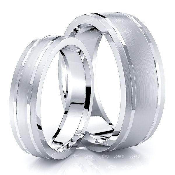 Traditional Angled Cut Matching 7mm His and 5mm Hers Wedding Ring Set