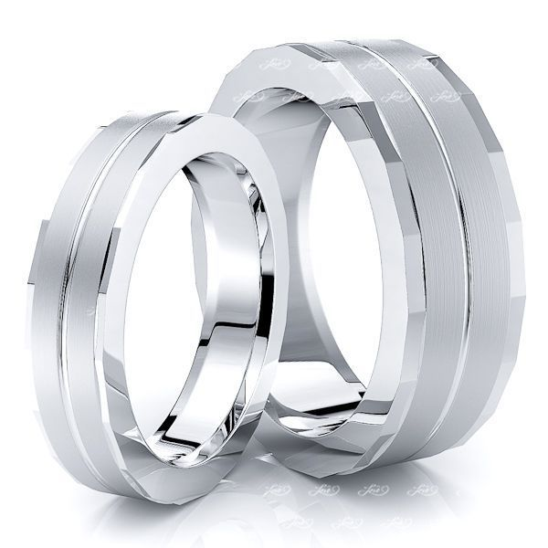 Fancy Angled Cut Edge Matching 7mm His and 5mm Hers Wedding Ring Set