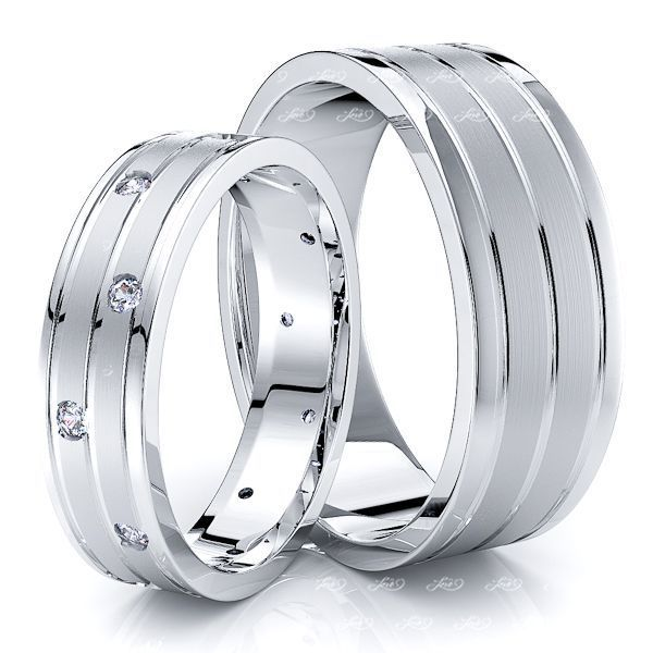 0.18 Carat Fashionable 7mm His and 5mm Hers Diamond Wedding Band Set