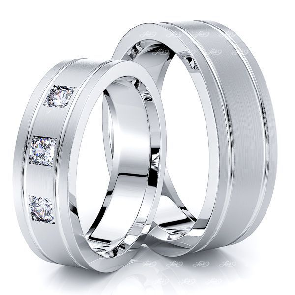 0.15 Carat Elegant Classic 6mm His and Hers Diamond Wedding Band Set