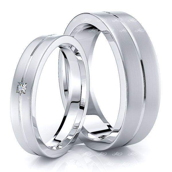 0.05 Carat Elegant Basic 6mm His and 4mm Hers Diamond Wedding Ring Set