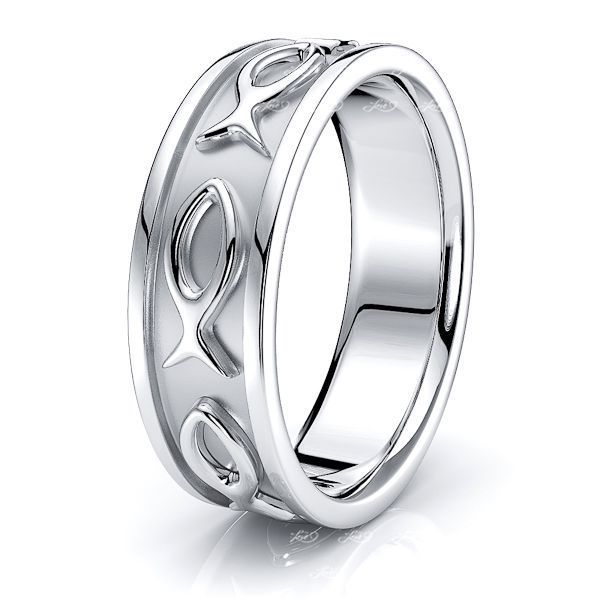 Eli Jesus Fish Motif Mens Wedding Ring