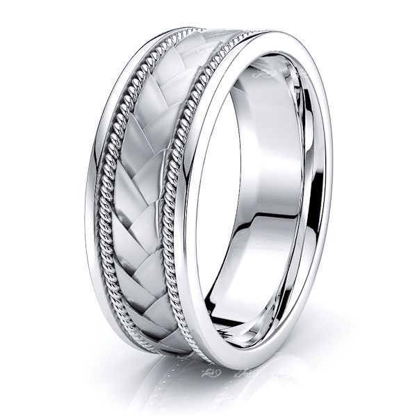 Zachary Hand Woven Mens Wedding Band