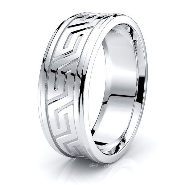 Stellan Handmade Greek Key Mens Wedding Ring