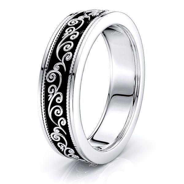 Ayla Solid 6.5mm Floral Mens Wedding Ring