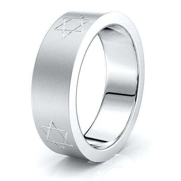 Ambrose Solid 7mm Star Mens Wedding Ring