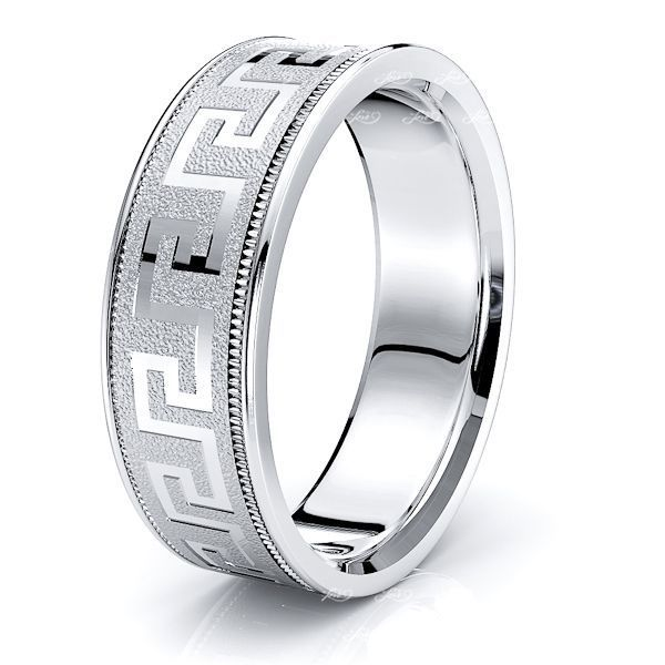 Miriam 7mm Greek Key Mens Wedding Ring