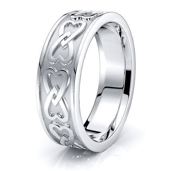 Daisy Heart Mens Celtic Wedding Ring