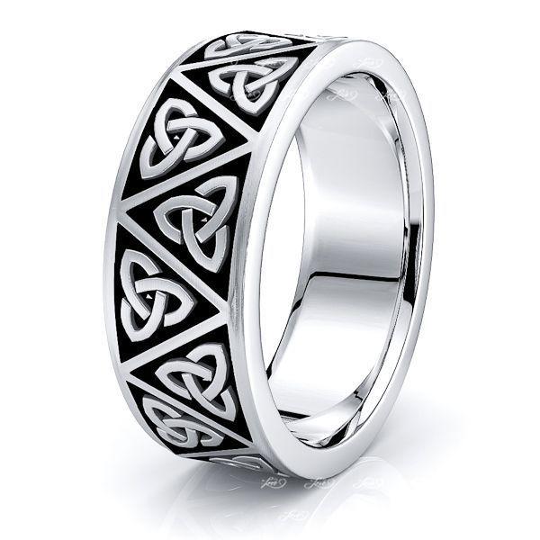 Aeron Trinity Knot Mens Celtic Wedding Ring