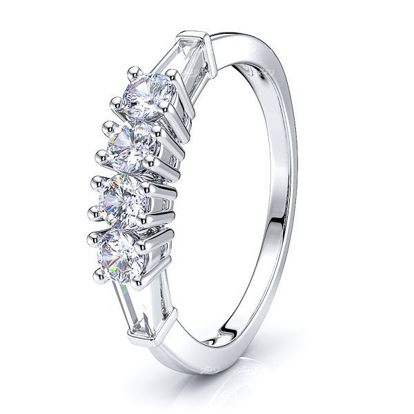 Tapered Baguette Cut Women Anniversary Wedding Ring