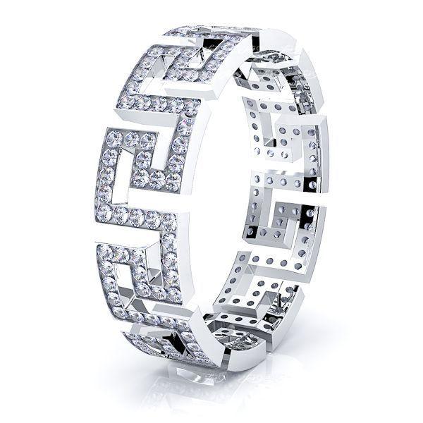 Eleanor Greek Key Mens Diamond Wedding Ring