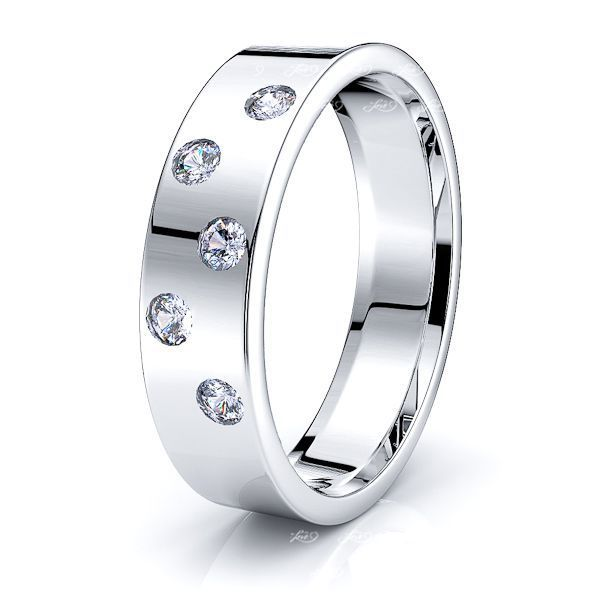 Pearl Mens Diamond Wedding Band
