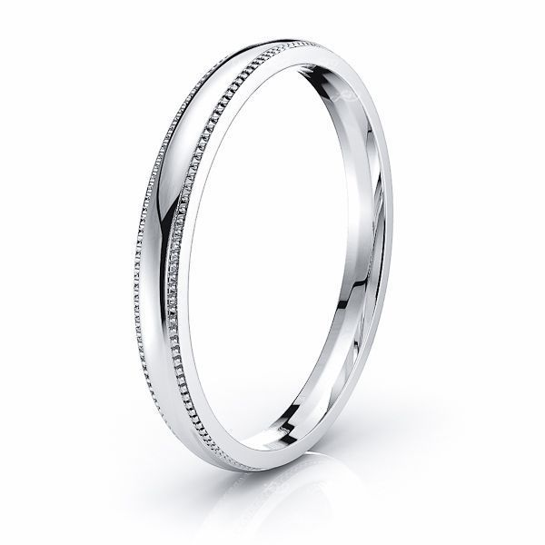 Solid Dome Milgrain Comfort Fit Wedding Bands