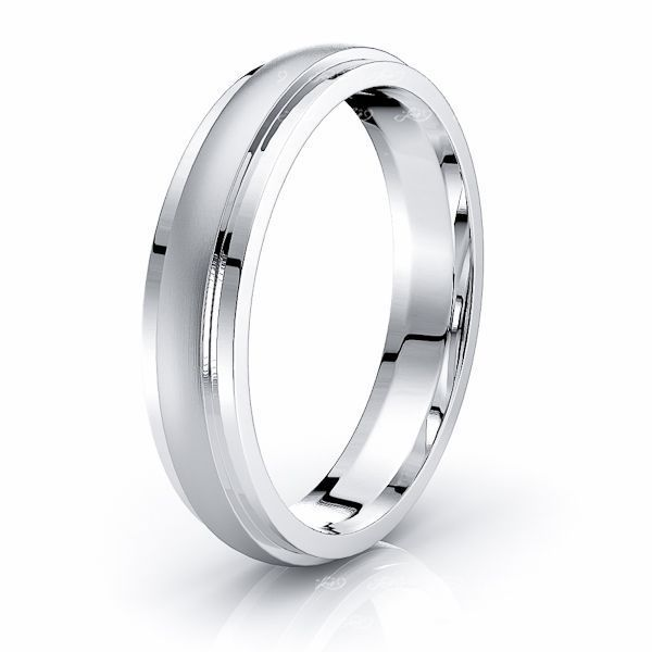 Solid Dome Step Comfort Fit Mens Wedding Ring