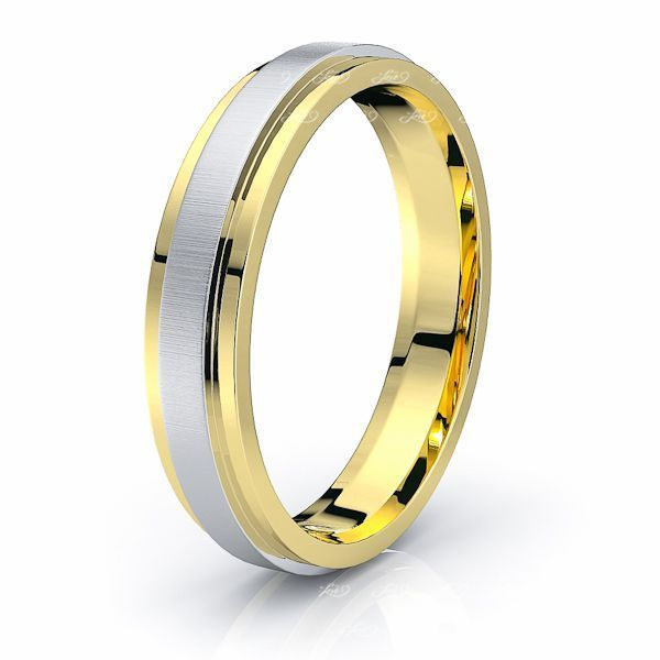 Solid Flat Step Comfort Fit Mens Wedding Band