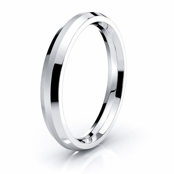 Solid Beveled Edge Comfort Fit Mens Wedding Ring